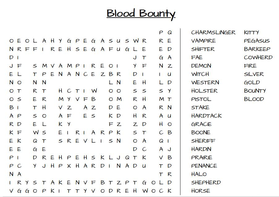 Blood Bounty Word Search